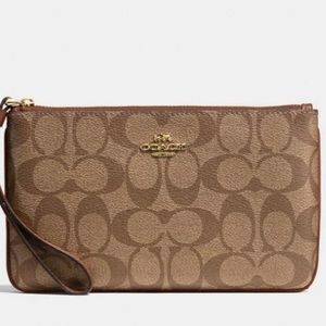 NWT COACH signature canvas large wristlet khaki